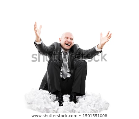 Loud shouting or screaming tired stressed businessman hands covering ears Stock photo © ia_64