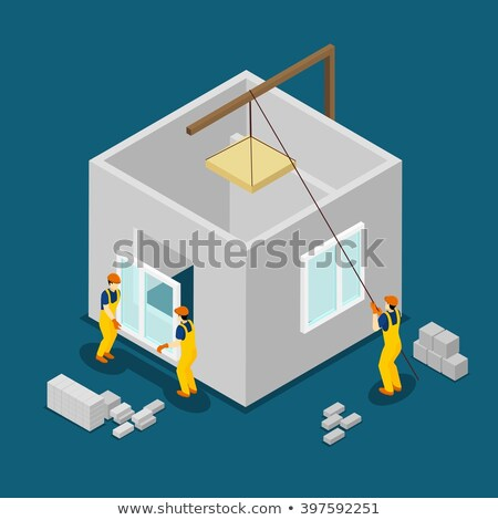 vector isometric worker at windows installation stock photo © tele52