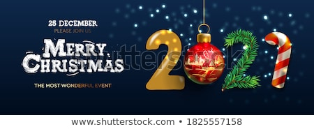 Merry Christmas and Happy New Year horizontal poster. Holiday template with branches eucalyptus, spr Stock photo © ikopylov