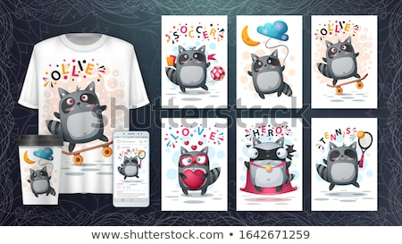 set cute raccoon poster and merchandising stock photo © rwgusev
