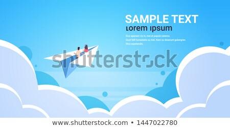 Człowiek kobieta pływające papieru ilustracja Zdjęcia stock © jossdiim