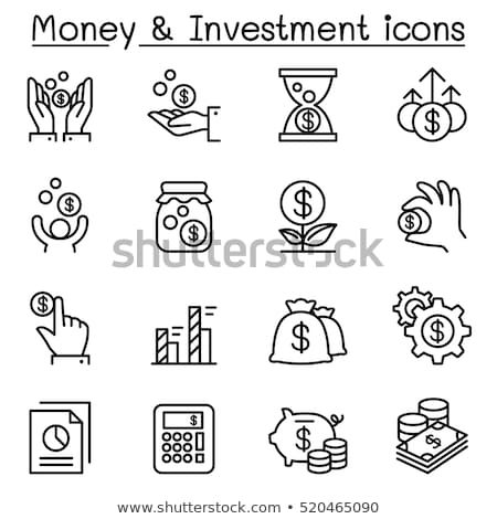 Budget - vector line design style icons set Stock photo © Decorwithme
