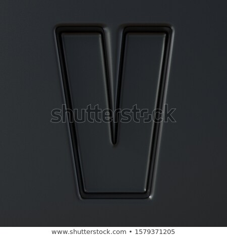 Black engraved font Letter V 3D Stock photo © djmilic