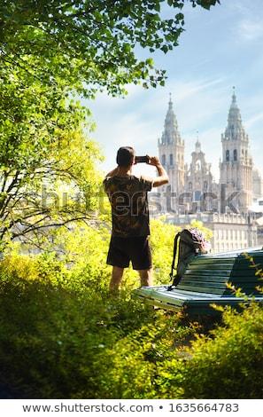 若い男 巡礼 サンティアゴ 電話 男性 巡礼者 ストックフォト © diego_cervo