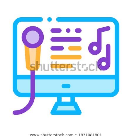 Ekranie komputera Internetu online karaoke wektora ikona Zdjęcia stock © pikepicture