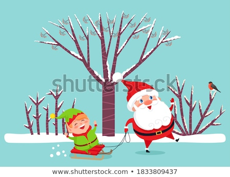 Merry Christmas, Xmas Elf Riding Sleigh in Forest Stock photo © robuart