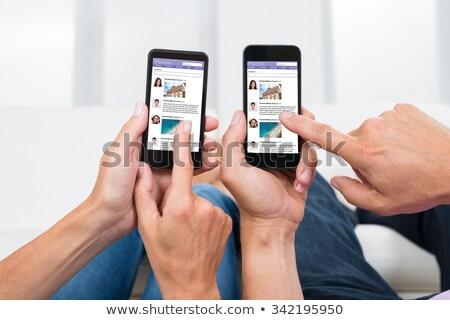 Dos personas social redes junto Foto stock © AndreyPopov