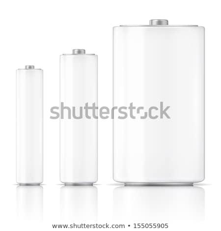 Drie batterij witte illustratie ontwerp kunst Stockfoto © bluering