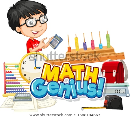 Font design for word math genius with boy and school items Stock photo © bluering