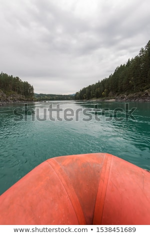 Rafting spelevaren rivier Rusland bos landschap Stockfoto © olira