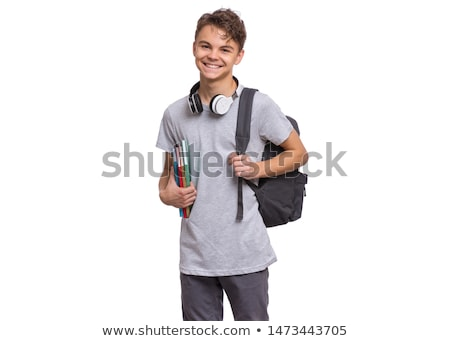 smiling student boy with books and school bag Stock photo © dolgachov
