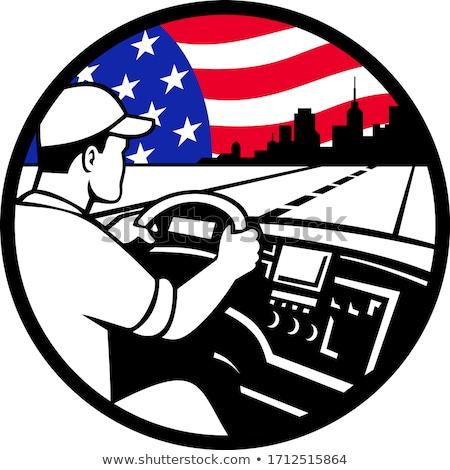 American Trucker Driving Highway USA Flag Circle Mascot Stock photo © patrimonio