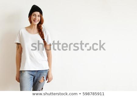 Izolált lövés csinos lány elegáns kalap Stock fotó © vkstudio