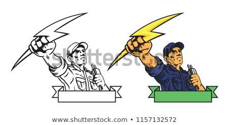 Erő elektomos munkás villanyszerelő kéz tart Stock fotó © patrimonio