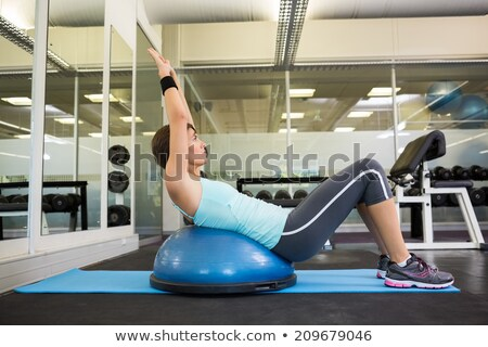 Brunette vrouw training oefening bal mooie Stockfoto © darrinhenry