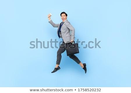 Foto stock: Empresario · saltar · aire · foto · traje