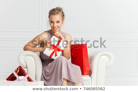Red-haired girl in dress with present box Stock photo © Massonforstock