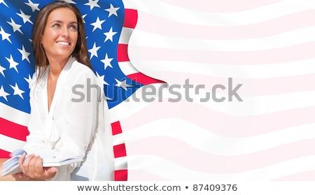 portré · boldog · fiatal · nő · tart · notebook · ül - stock fotó © hasloo