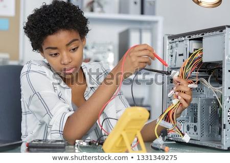 mulher · computador · belo · mulher · jovem · madeira - foto stock © photography33