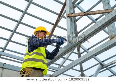 Munkás térdel kék profi építész felnőtt Stock fotó © photography33