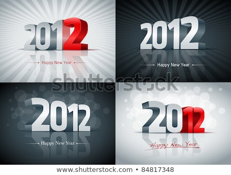 3D nouvelle année 2012 forme rouge fond Photo stock © chrisroll