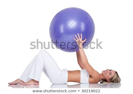фитнес · улыбающаяся · женщина · Purple · мяча · белый · женщину - Сток-фото © candyboxphoto