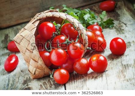 Sepet kırmızı kiraz domates olgun üretmek gıda Stok fotoğraf © klsbear