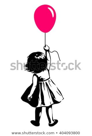 playing little girl holding balloon stock photo © phbcz