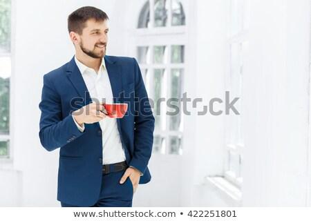 Foto stock: Retrato · empresário · copo · chá · computador