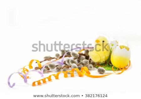 Húsvét szép citromsárga húsvéti tojás színes szalagok Stock fotó © vitek38