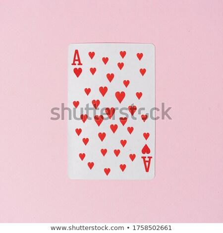 Ace coeurs milieu cartes peu profond Photo stock © Grazvydas