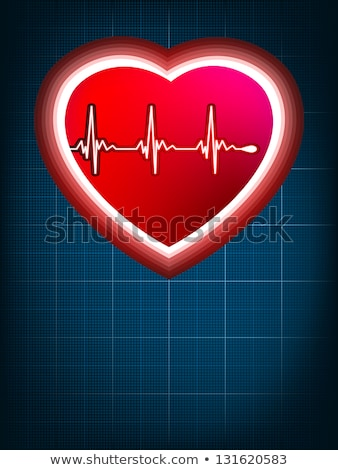 Abstract heart beats cardiogram on blue. EPS 8 Stock photo © beholdereye