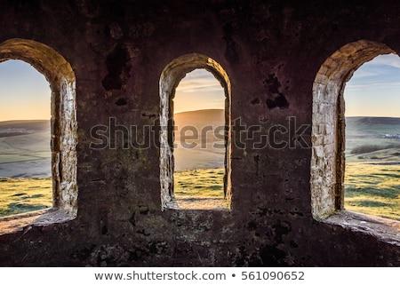 Eski pencere eski bina turuncu tungsten ışık Stok fotoğraf © eldadcarin