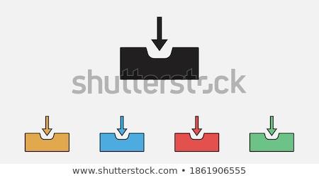 Bejövő üzenetek nyíl szett ikon gyűjtemény izolált fehér Stock fotó © cteconsulting