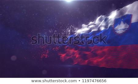 Absztrakt Szlovénia zászló piros íj fehér Stock fotó © maxmitzu