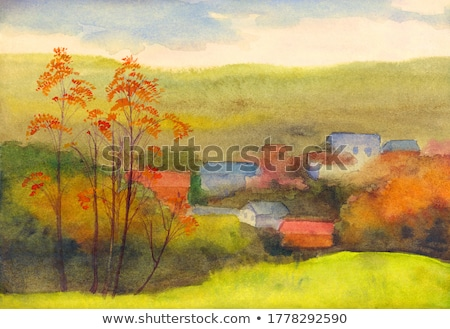 Farm Yellow Aspens in the Hills Fall Colors and Yellow Grass Mis stock photo © billperry