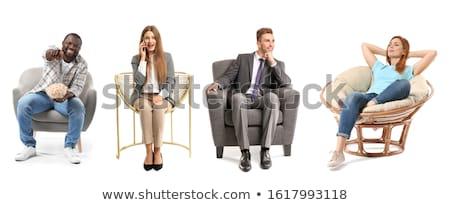 üzletember nyugodt ül szék beszél mobiltelefon Stock fotó © lunamarina
