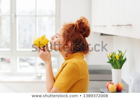 skarbonka · kobieta · okulary - zdjęcia stock © rob_stark