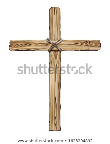 bois · croix · blanche · faible · isolé · christ - photo stock © boggy