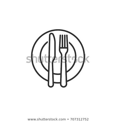 Plaka çatal bıçak takımı cam restoran tablo çatal Stok fotoğraf © M-studio