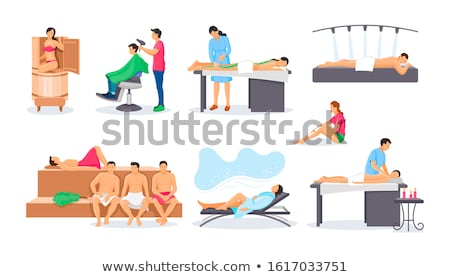 Wellness treatment woman relax on wooden chair Stock photo © CandyboxPhoto