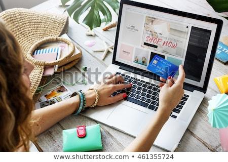 Online alışveriş kız bilgisayar ofis Internet moda Stok fotoğraf © JackyBrown