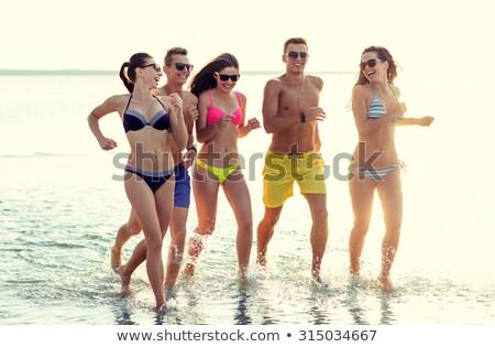 glimlachend · paar · lopen · zomer · fitness - stockfoto © monkey_business