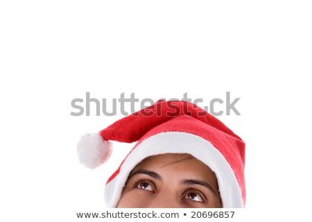 Mrs. Santa dreaming about Chrismas presents isolated on white ba Stock photo © Nejron