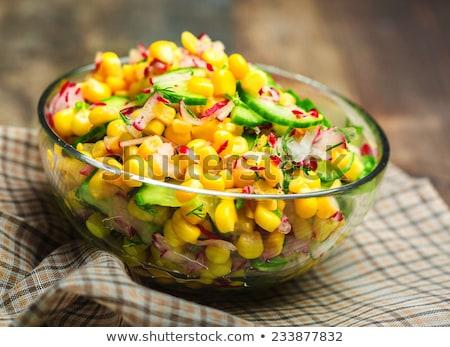 salata · mısır · salatalık · gıda · sebze · yemek - stok fotoğraf © m-studio