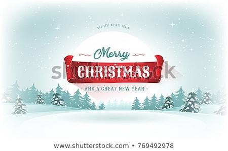 Vector Retro Night Snowy Christmas Card Stock photo © benchart