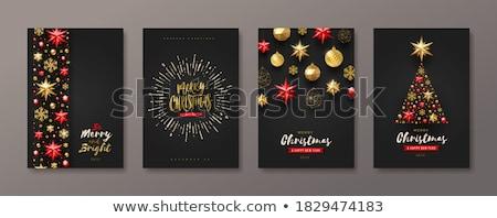 Fekete karácsony szimbólumok szett karácsonyi minta sziluett Stock fotó © mayboro