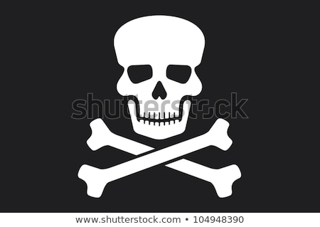 illustration of pirate symbols with skull ship treasure flag parrot and swords stock photo © gigra
