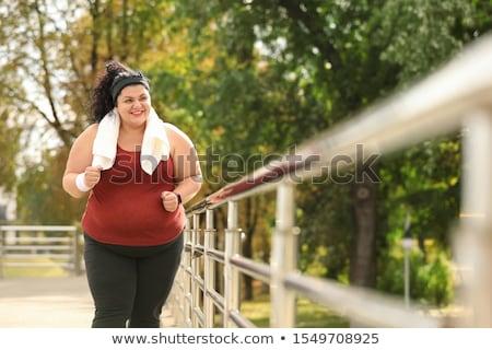 Nagy nő tart mérleg étel test Stock fotó © hsfelix