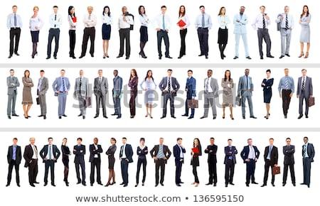 Porträt Geschäftsmann stehen Laptop isoliert weiß Stock foto © deandrobot